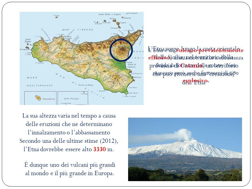 L'Etna sorge lungo la costa orientale della Sicilia, nel territorio della provincia di Catania, un territorio che può ritenersi una creazione dell'Etna