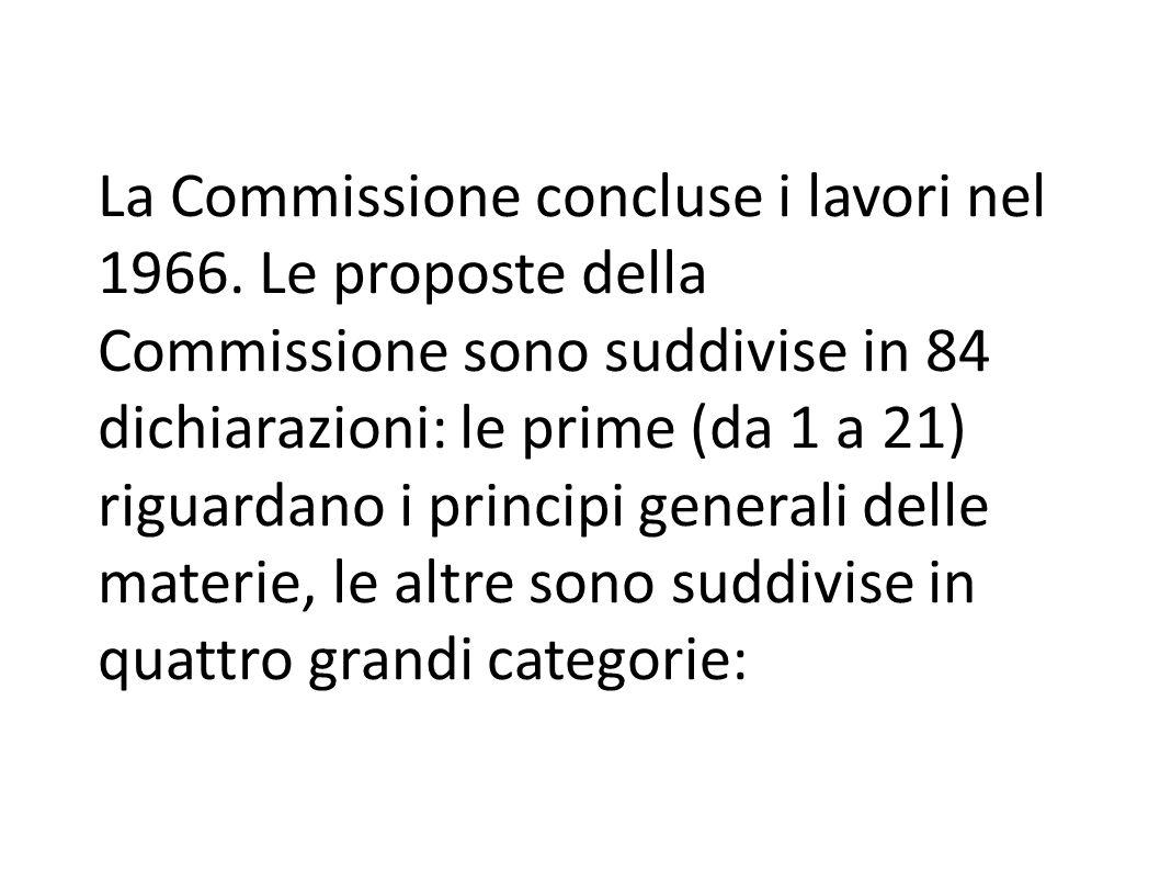 La Commissione concluse i lavori nel 1966