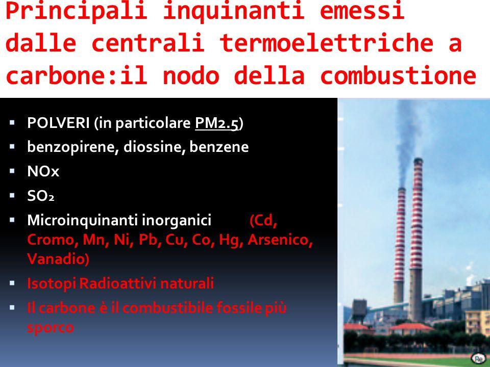 Principali inquinanti emessi dalle centrali termoelettriche a carbone:il nodo della combustione