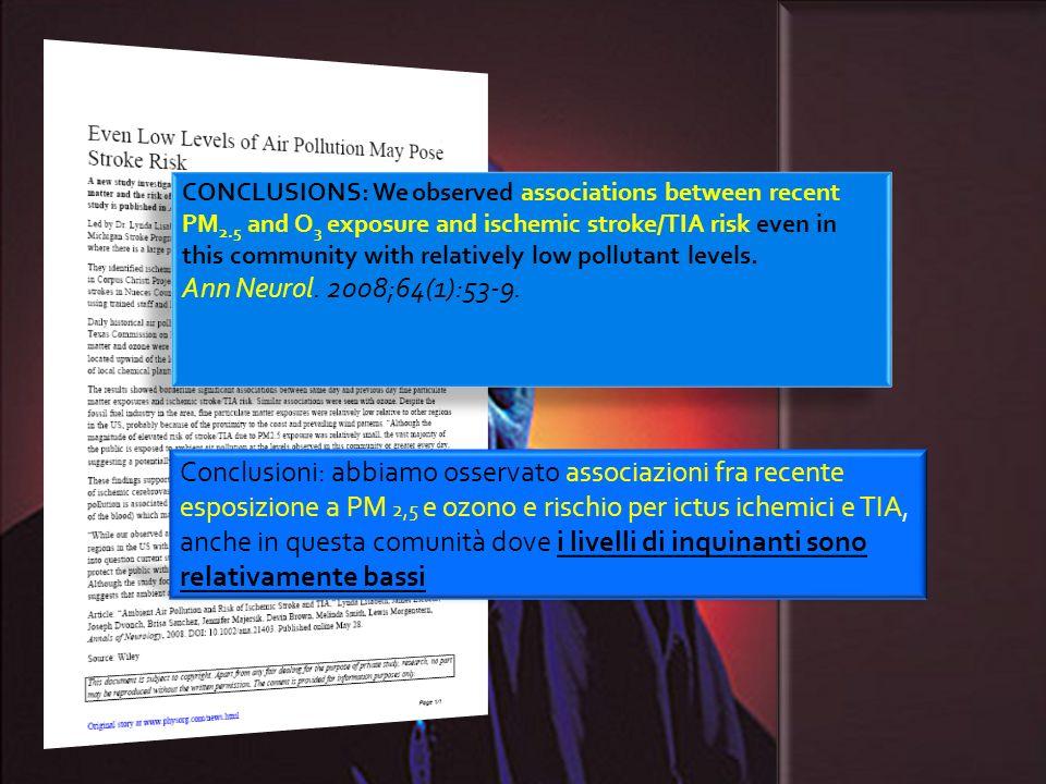 Conclusioni: abbiamo osservato associazioni fra recente