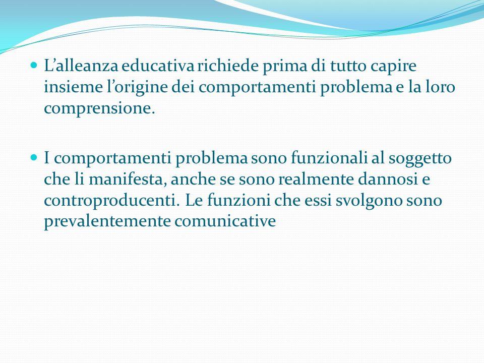 L'alleanza educativa richiede prima di tutto capire insieme l'origine dei comportamenti problema e la loro comprensione.