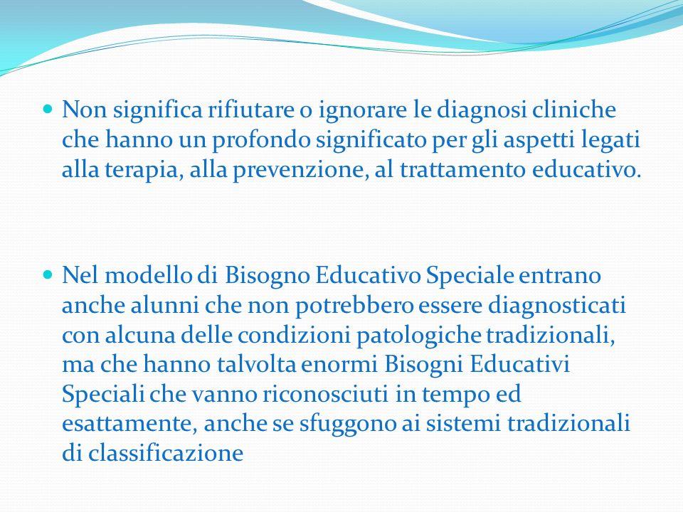 Non significa rifiutare o ignorare le diagnosi cliniche che hanno un profondo significato per gli aspetti legati alla terapia, alla prevenzione, al trattamento educativo.