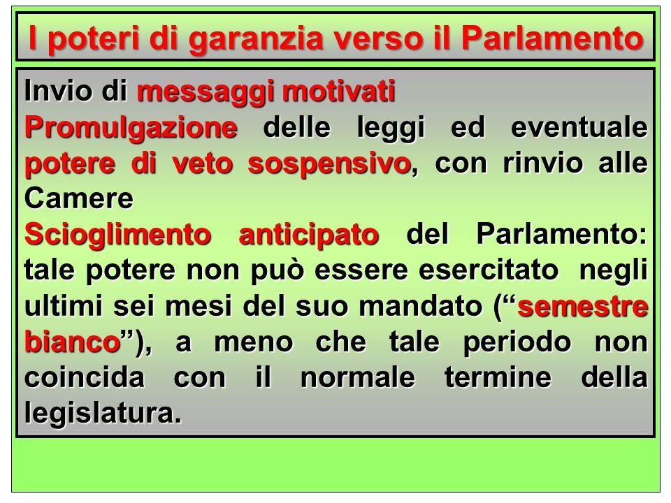 l poteri di garanzia verso il Parlamento