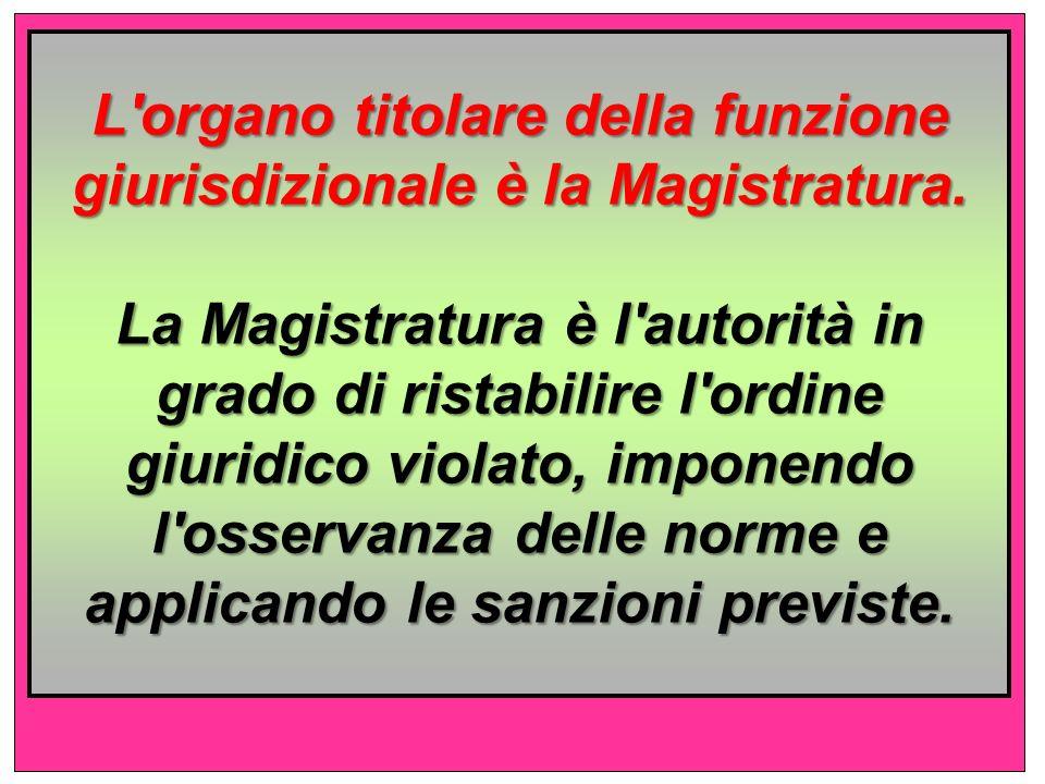 L organo titolare della funzione giurisdizionale è la Magistratura.