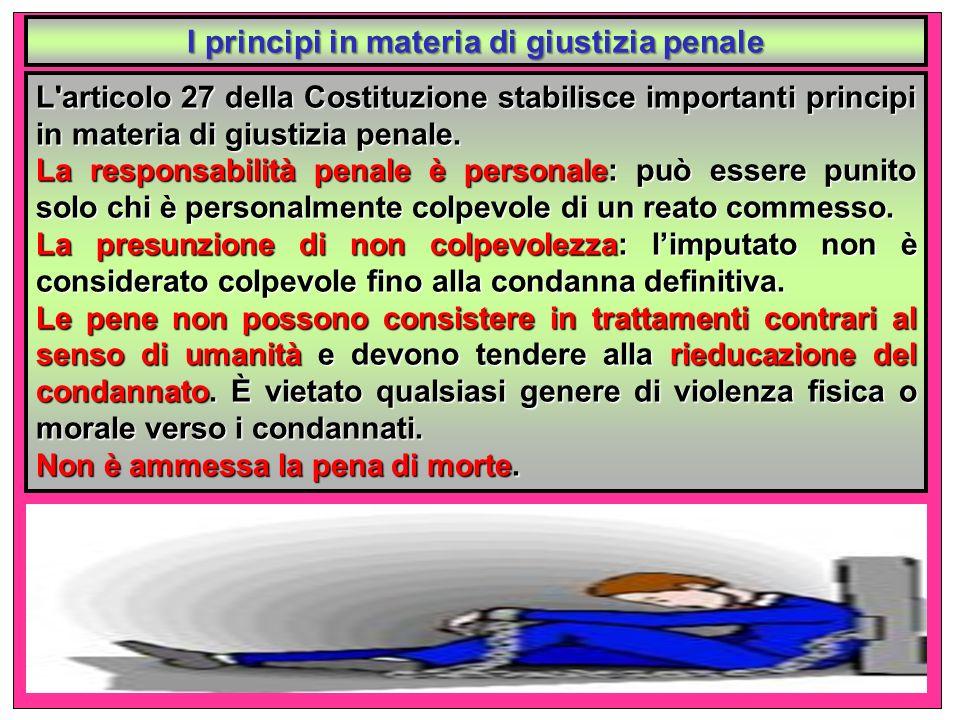 I principi in materia di giustizia penale