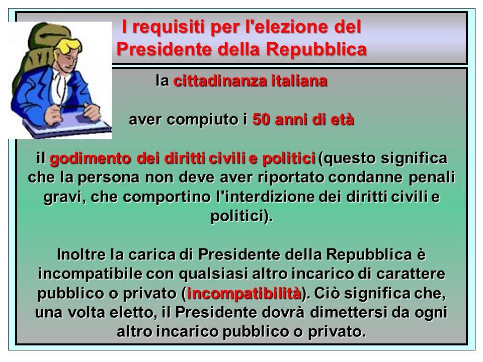 I requisiti per l elezione del Presidente della Repubblica