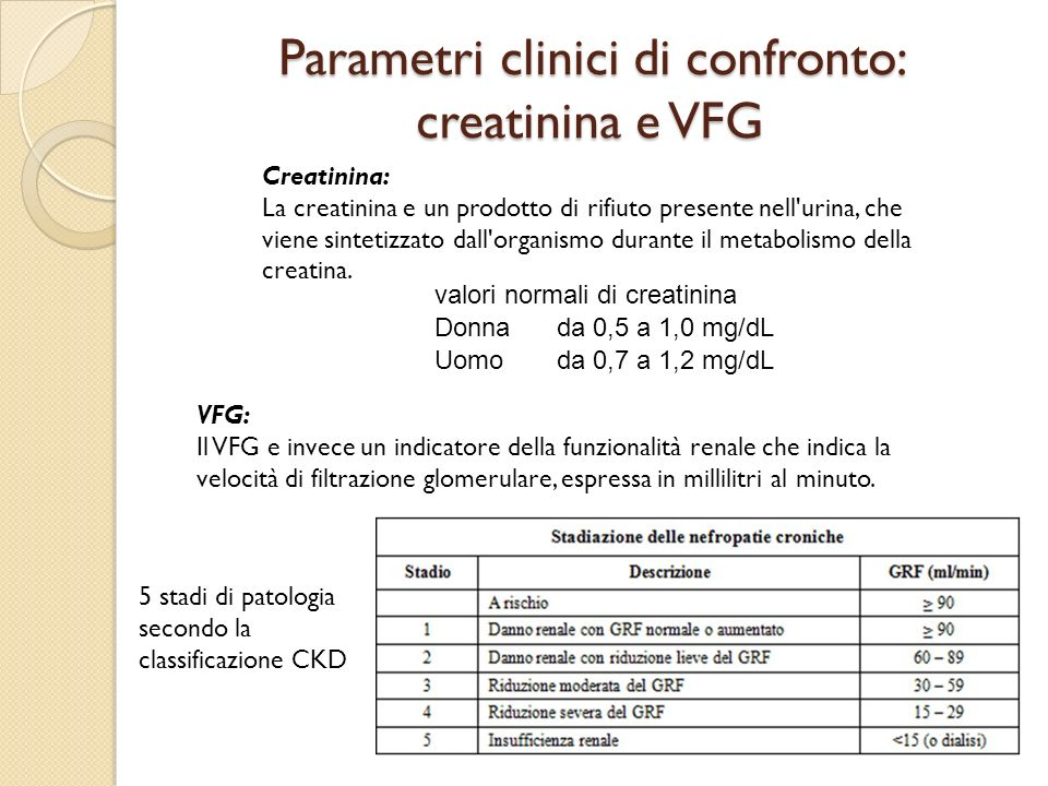 Parametri clinici di confronto: creatinina e VFG