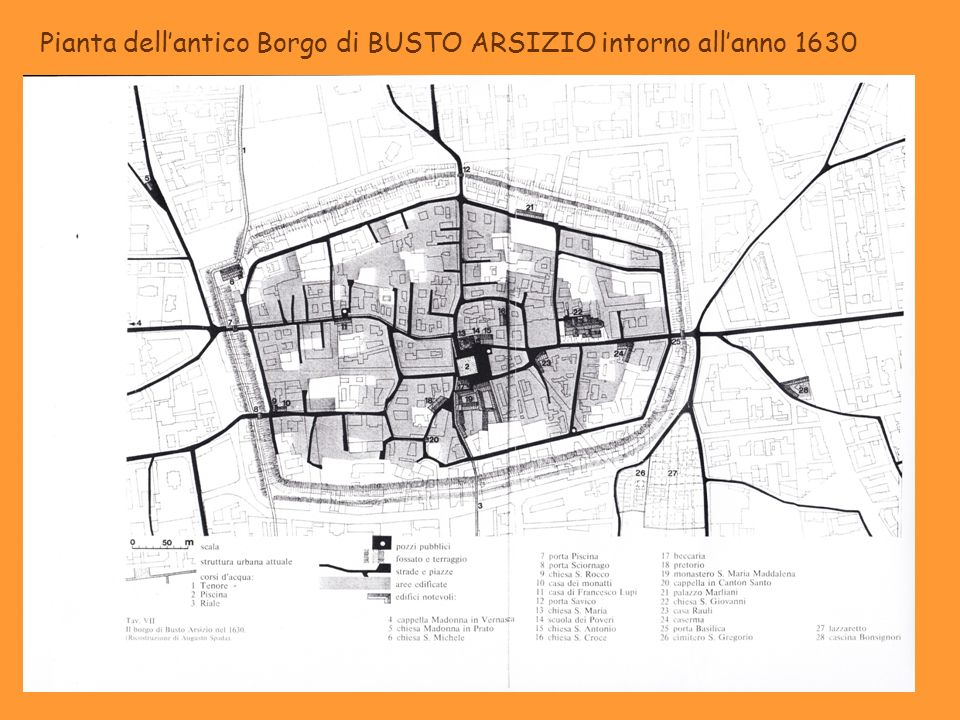 Pianta dell'antico Borgo di BUSTO ARSIZIO intorno all'anno 1630