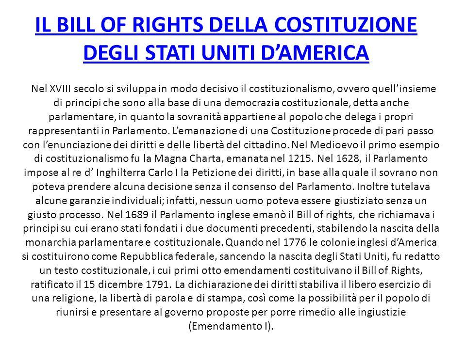 IL BILL OF RIGHTS DELLA COSTITUZIONE DEGLI STATI UNITI D'AMERICA