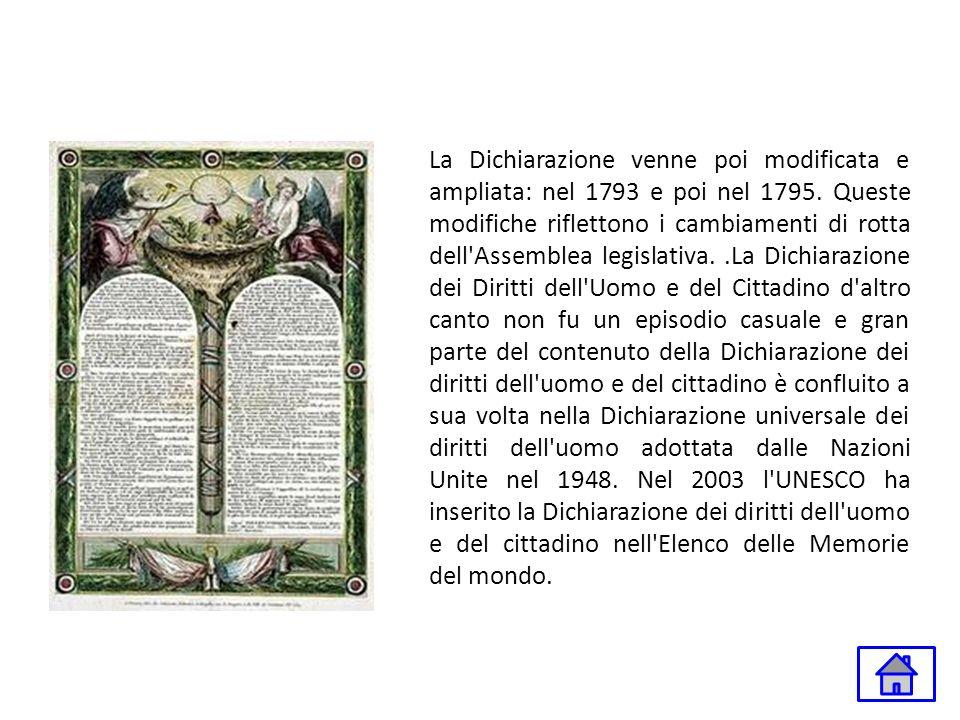 La Dichiarazione venne poi modificata e ampliata: nel 1793 e poi nel 1795.