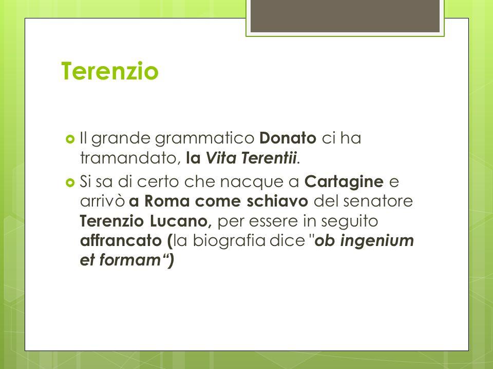 Terenzio Il grande grammatico Donato ci ha tramandato, la Vita Terentii.