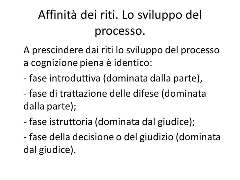 Affinità dei riti. Lo sviluppo del processo.