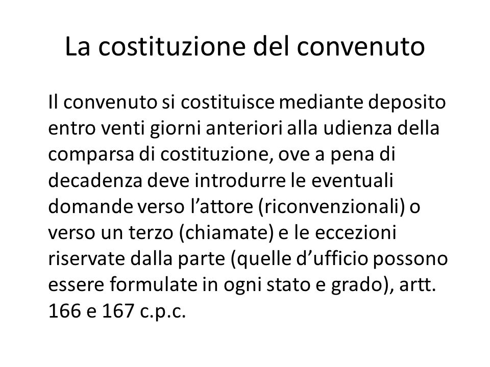 La costituzione del convenuto