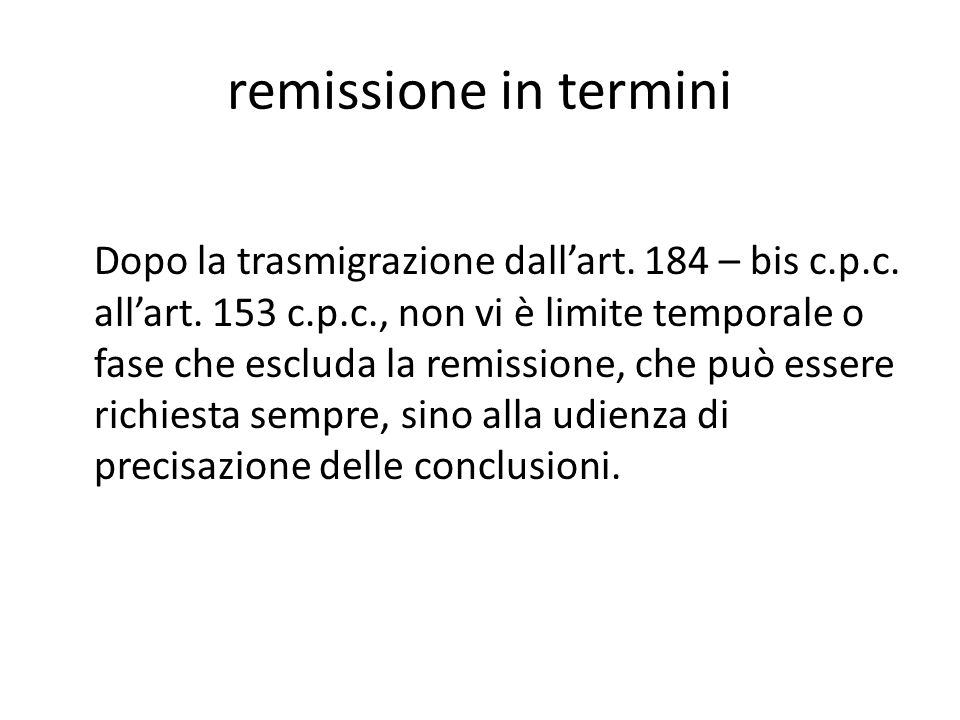 remissione in termini