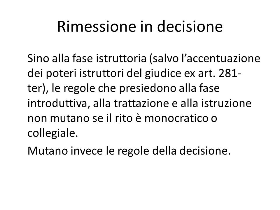 Rimessione in decisione