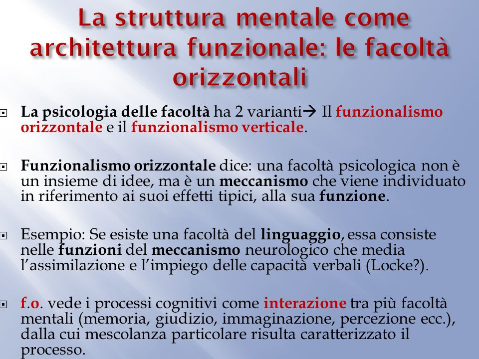La struttura mentale come architettura funzionale: le facoltà orizzontali