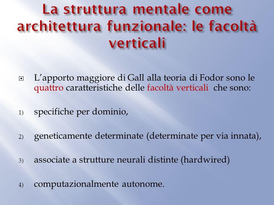 La struttura mentale come architettura funzionale: le facoltà verticali