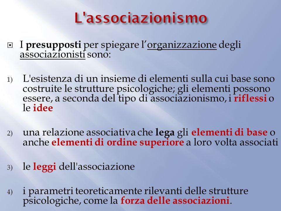 L associazionismo I presupposti per spiegare l'organizzazione degli associazionisti sono: