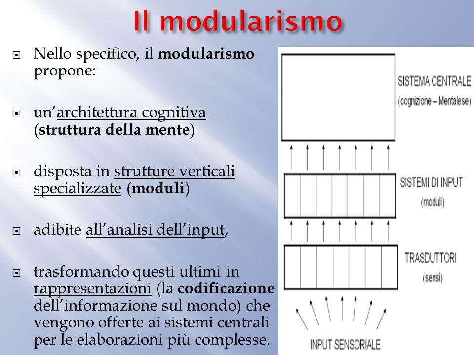 Il modularismo Nello specifico, il modularismo propone: