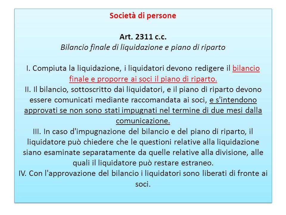 Società di persone Art. 2311 c. c