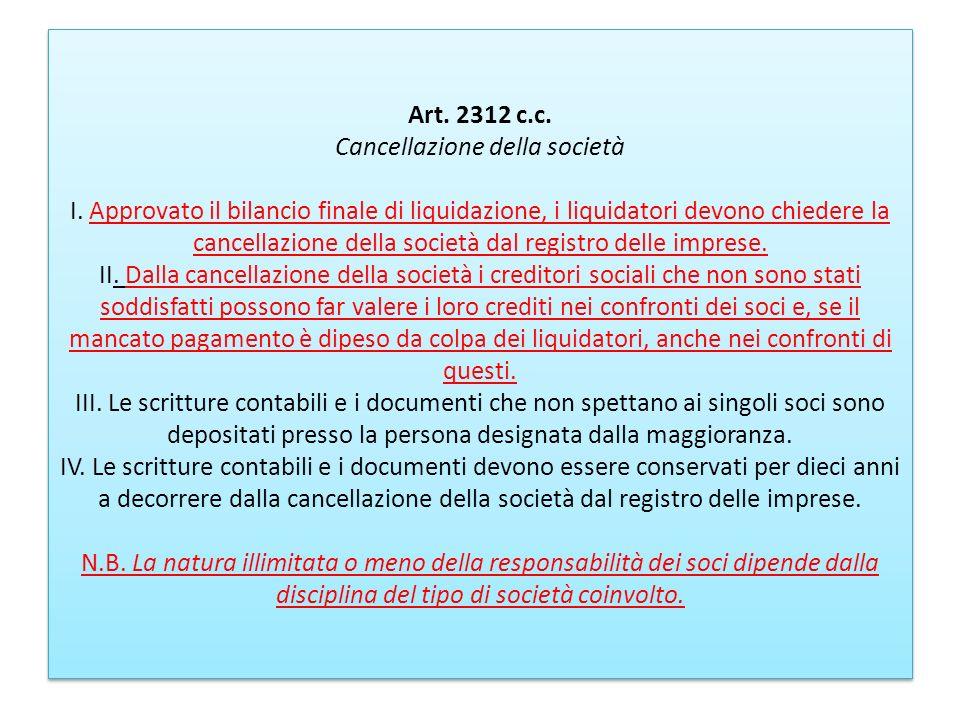 Art. 2312 c. c. Cancellazione della società I