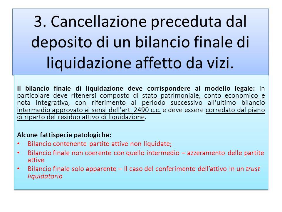 3. Cancellazione preceduta dal deposito di un bilancio finale di liquidazione affetto da vizi.