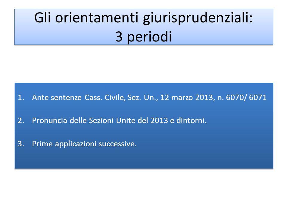 Gli orientamenti giurisprudenziali: 3 periodi