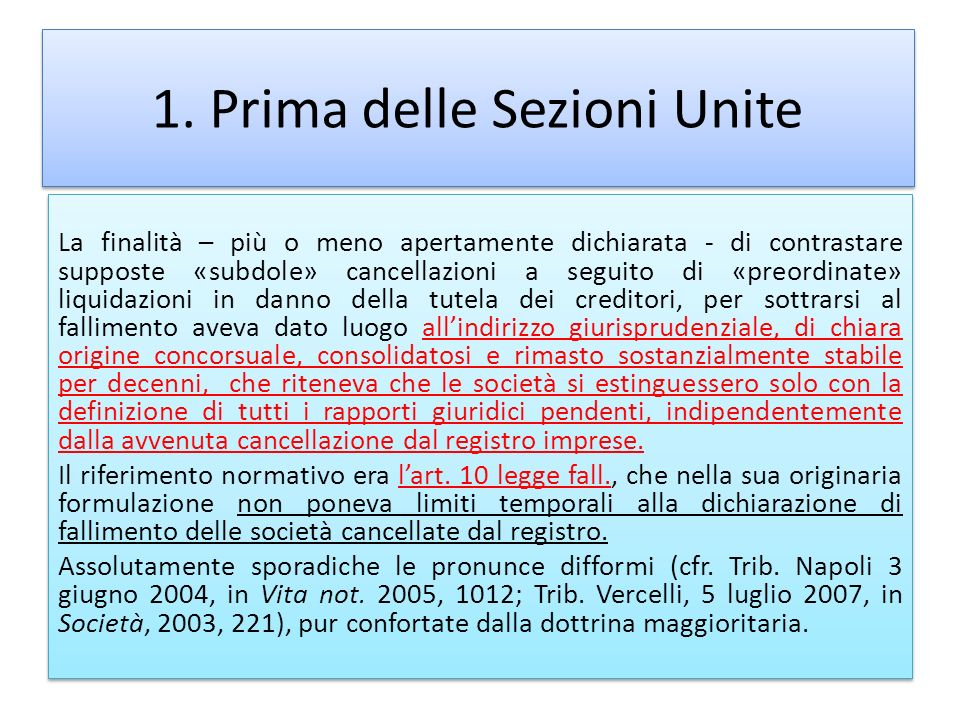 1. Prima delle Sezioni Unite