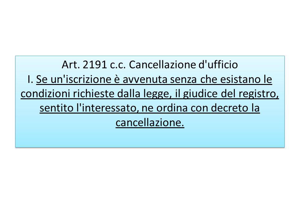 Art. 2191 c. c. Cancellazione d ufficio I
