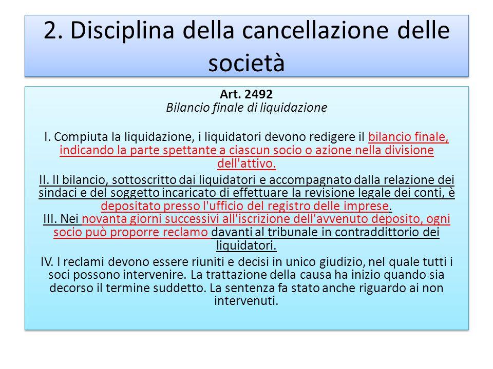 2. Disciplina della cancellazione delle società