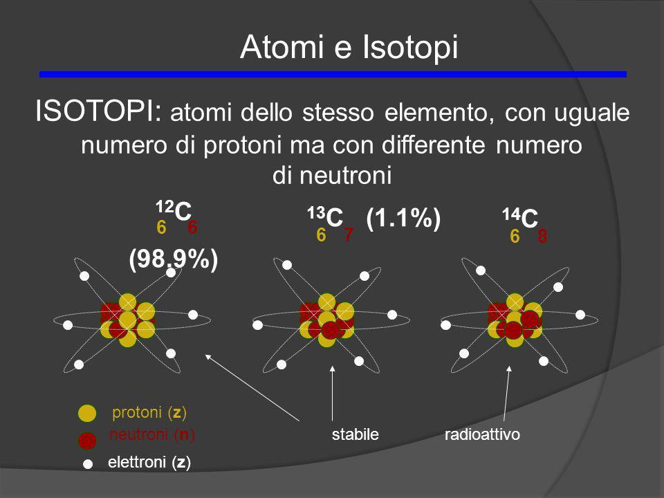 Atomi e Isotopi ISOTOPI: atomi dello stesso elemento, con uguale numero di protoni ma con differente numero.