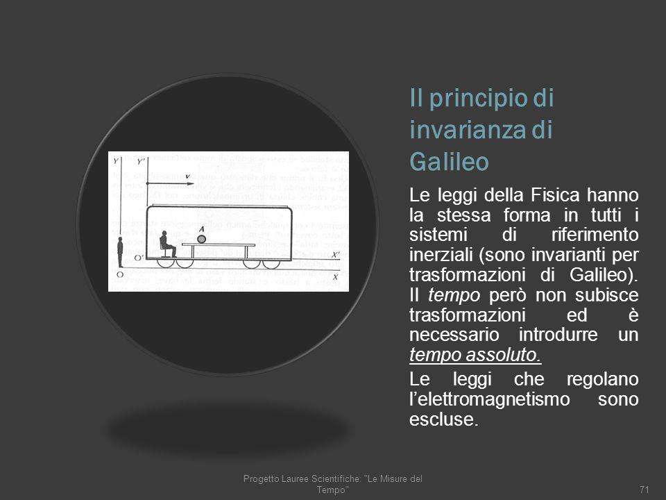 Il principio di invarianza di Galileo