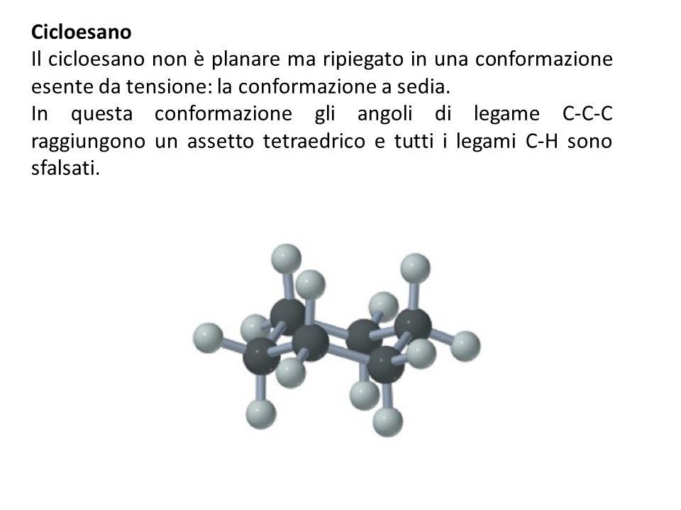 Cicloesano Il cicloesano non è planare ma ripiegato in una conformazione esente da tensione: la conformazione a sedia.