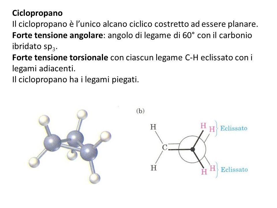 Ciclopropano Il ciclopropano è l'unico alcano ciclico costretto ad essere planare.