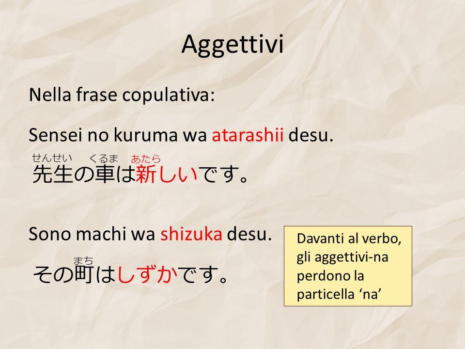 Aggettivi Nella frase copulativa: Sensei no kuruma wa atarashii desu.