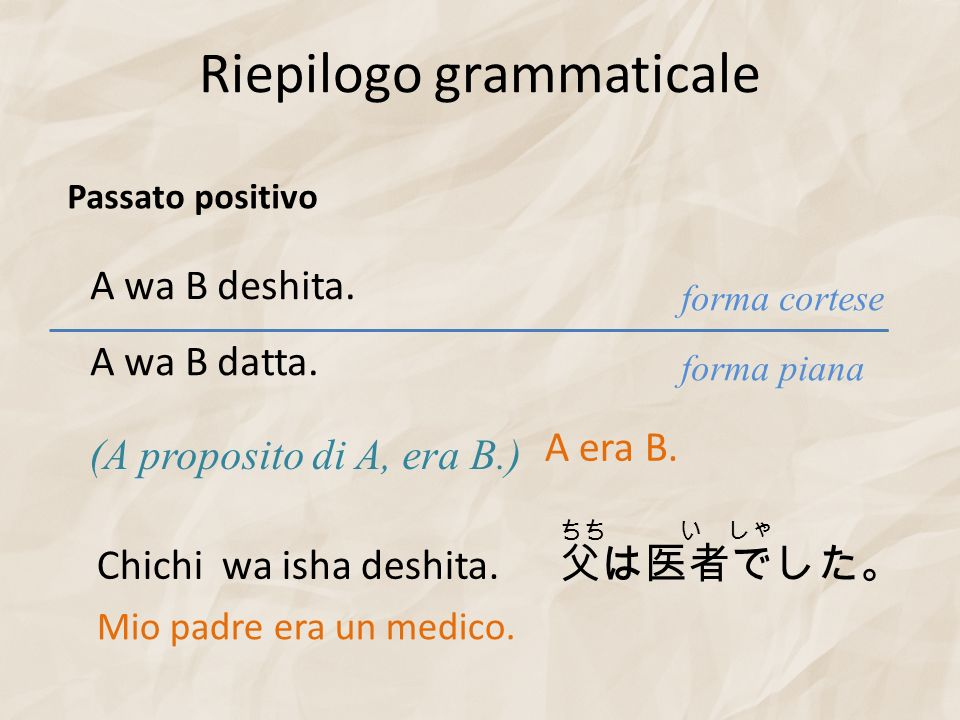 Riepilogo grammaticale