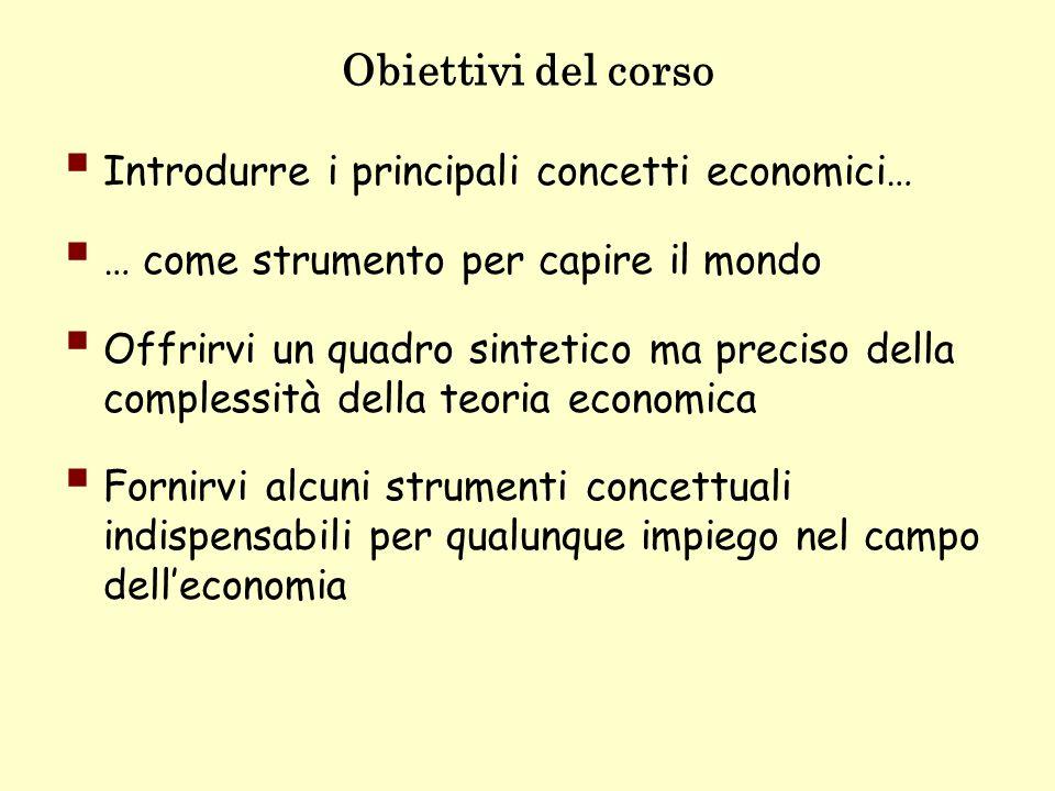 Obiettivi del corso Introdurre i principali concetti economici…