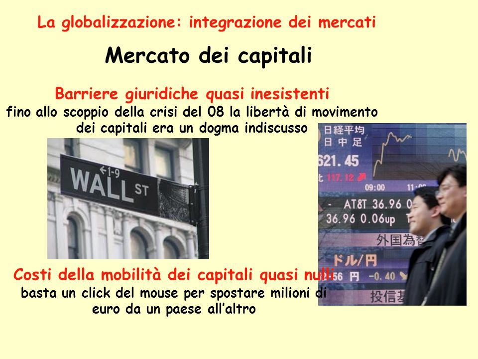 Mercato dei capitali La globalizzazione: integrazione dei mercati