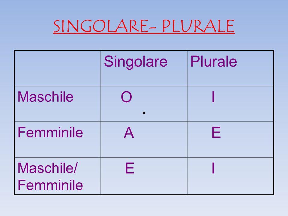 Singolare plurale singolare plurale o i a e maschile for Piscina e maschile o femminile