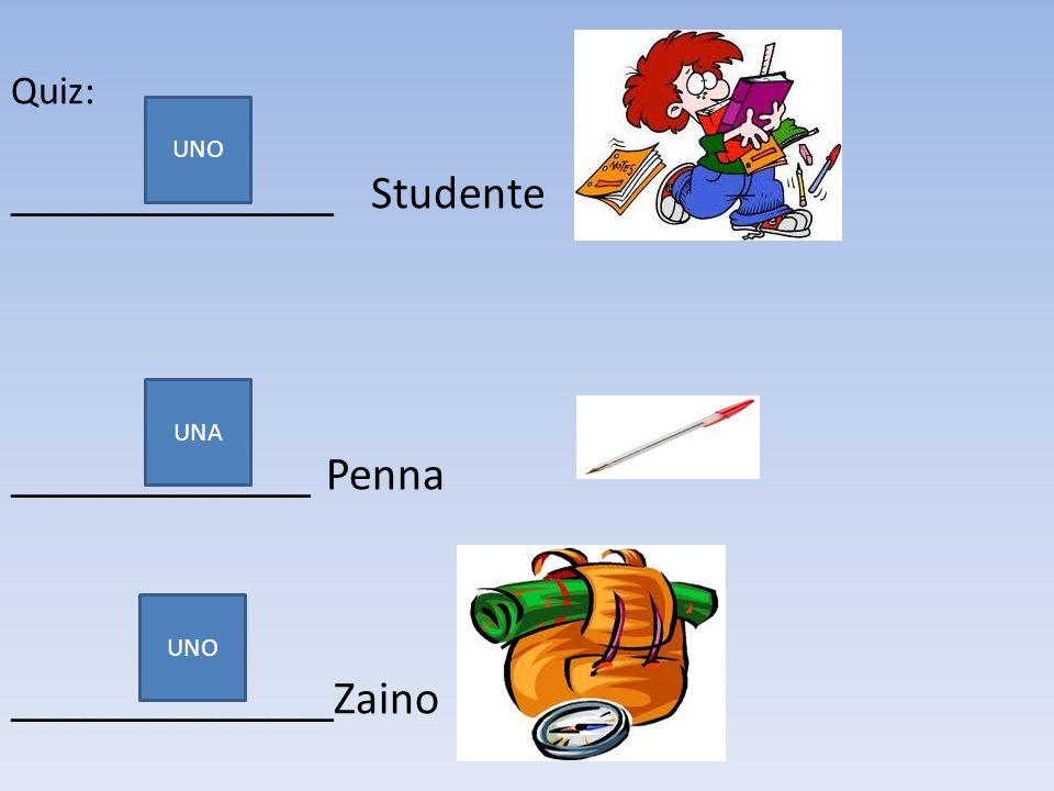 Quiz: ______________ Studente _____________ Penna ______________Zaino