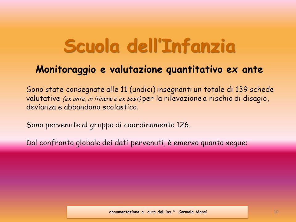 Scuola dell'Infanzia Monitoraggio e valutazione quantitativo ex ante