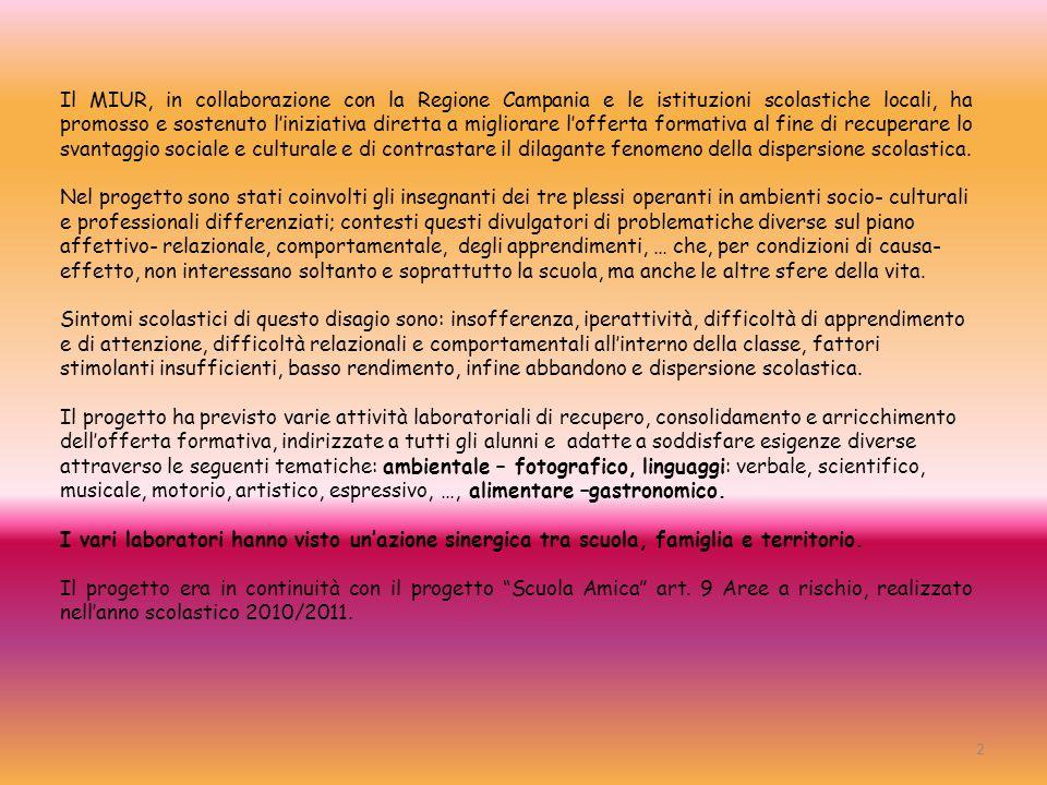 Il MIUR, in collaborazione con la Regione Campania e le istituzioni scolastiche locali, ha promosso e sostenuto l'iniziativa diretta a migliorare l'offerta formativa al fine di recuperare lo svantaggio sociale e culturale e di contrastare il dilagante fenomeno della dispersione scolastica.
