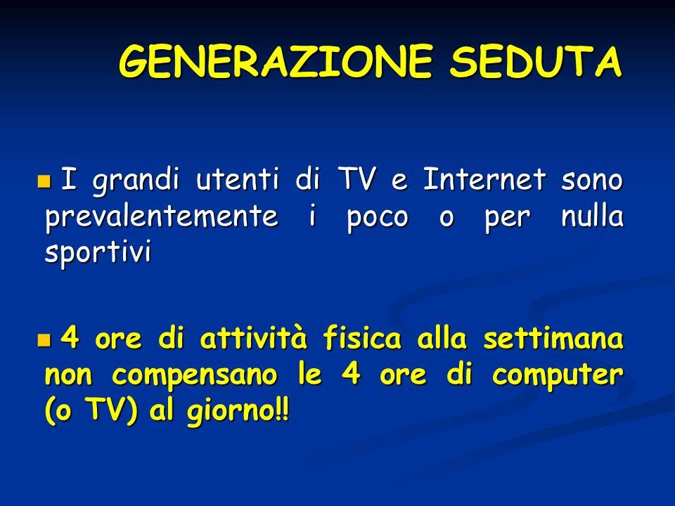 GENERAZIONE SEDUTAI grandi utenti di TV e Internet sono prevalentemente i poco o per nulla sportivi.