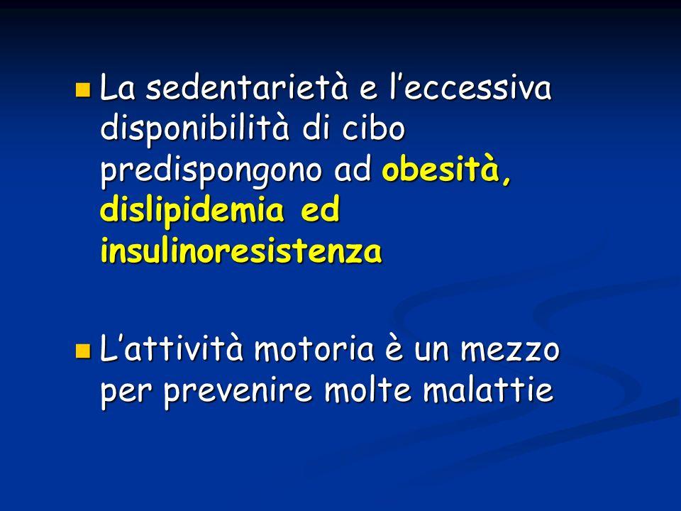 La sedentarietà e l'eccessiva disponibilità di cibo predispongono ad obesità, dislipidemia ed insulinoresistenza
