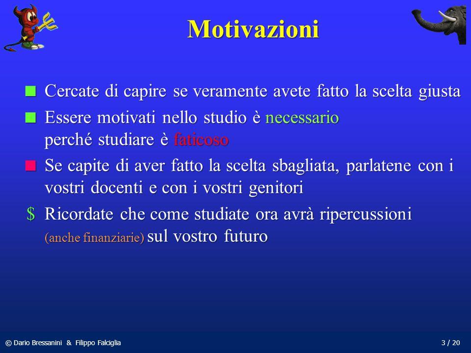 Motivazioni Cercate di capire se veramente avete fatto la scelta giusta. Essere motivati nello studio è necessario perché studiare è faticoso.