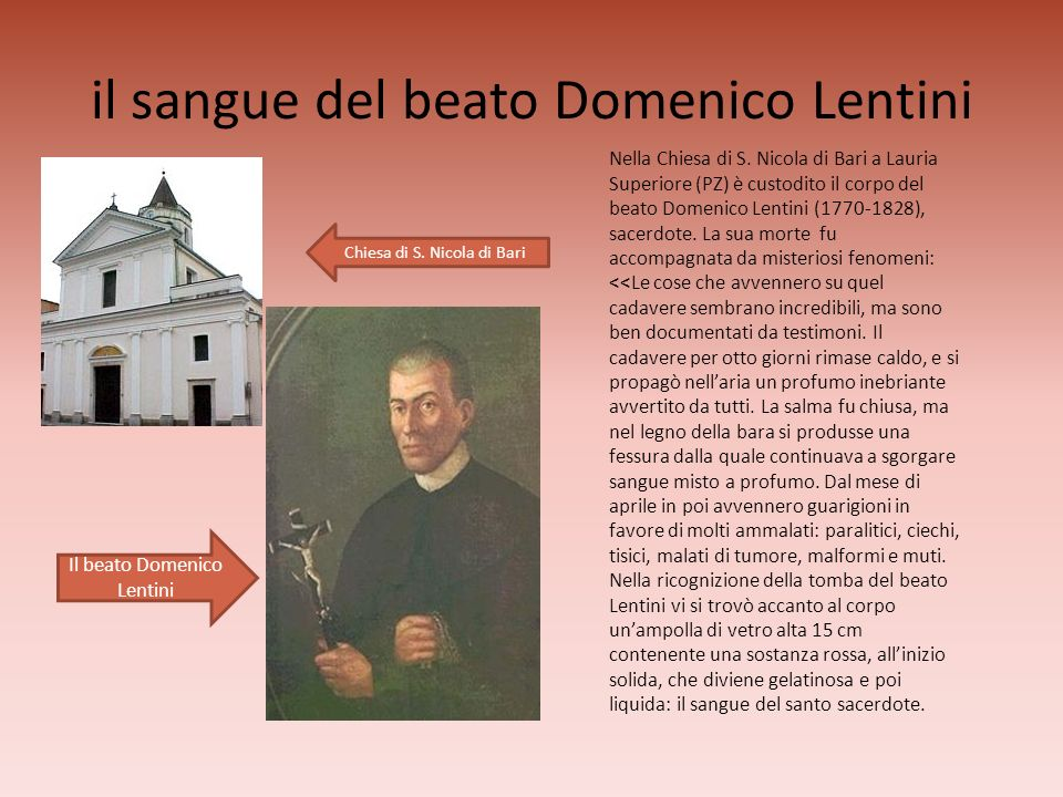 il sangue del beato Domenico Lentini