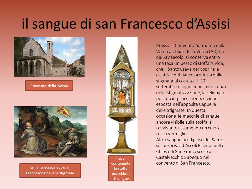 il sangue di san Francesco d'Assisi