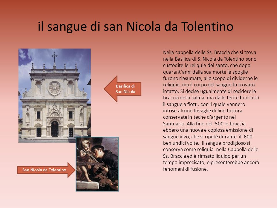 il sangue di san Nicola da Tolentino
