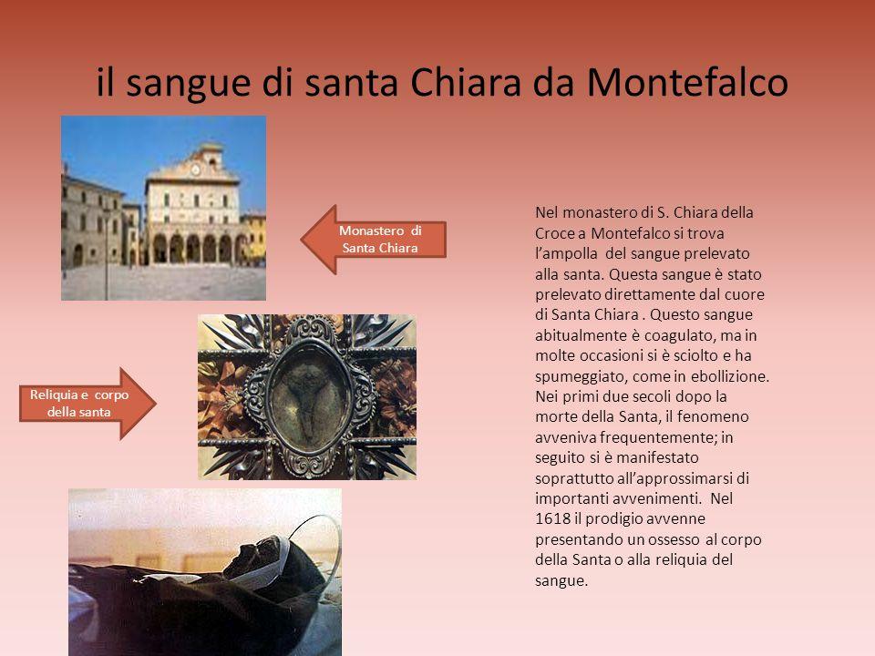 il sangue di santa Chiara da Montefalco