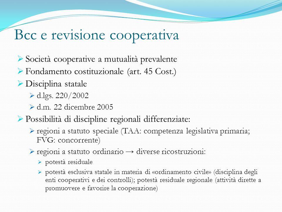 Bcc e revisione cooperativa